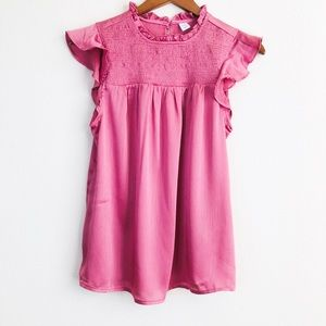 Old Navy Pink smocked ruffle blouse - SMALL
